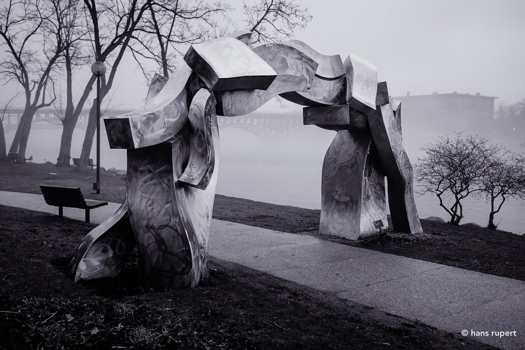 Stainless Steel Sculpture Along Rock River